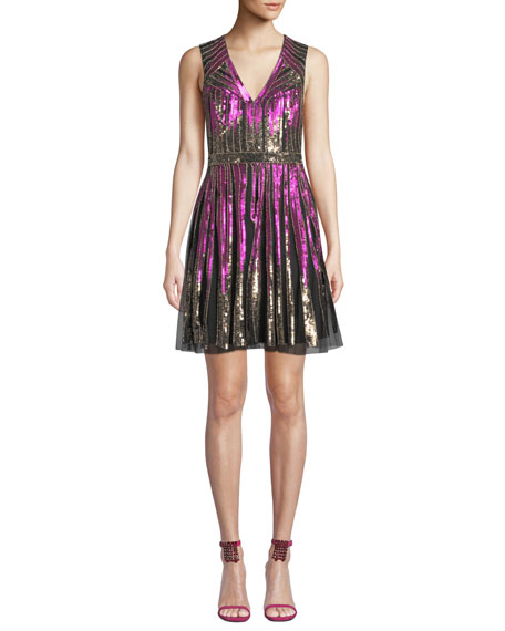 Aidan Mattox Striped Beaded V-Neck Cocktail Dress