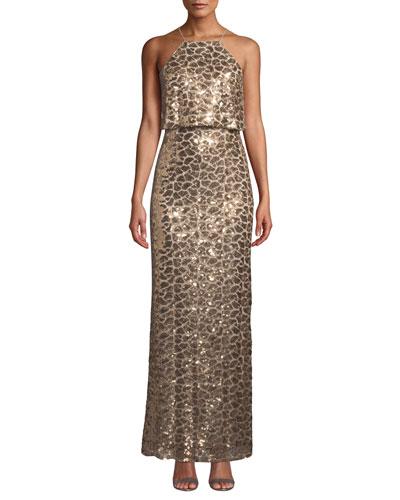 Sequin Blouson Halter Gown