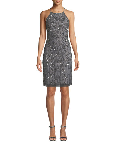 Bead Embellished Halter-Neck Cocktail Dress