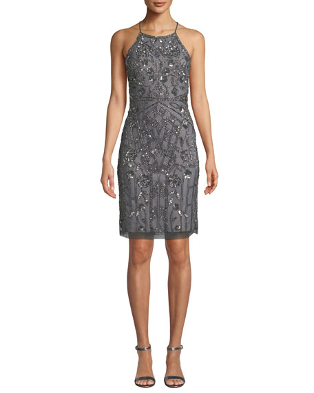 Aidan Mattox Bead Embellished Halter-Neck Cocktail Dress