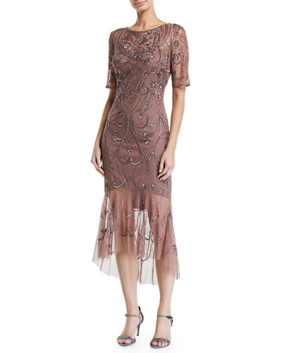 Beaded Short-Sleeve Dress w/ Sheer Hem