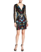 Aidan by Aidan Mattox V-Neck Long-Sleeve Geometric-Beaded