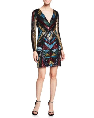 V-Neck Long-Sleeve Geometric-Beaded Cocktail Dress