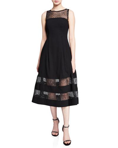 Bateau-Neck Sleeveless A-Line Dress w/ Lurex® Dot Illusion Hem