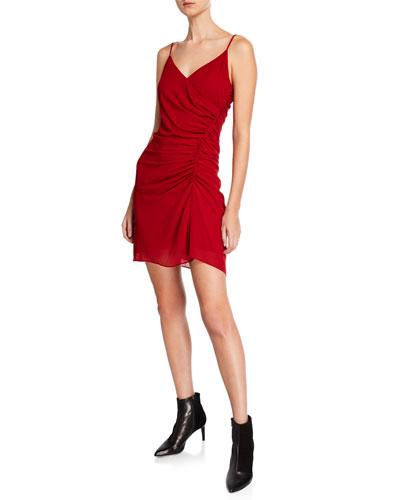 Kinsley Ruched Surplice Short Dress