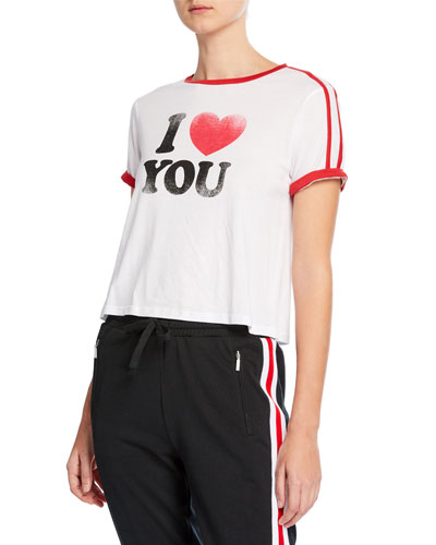 I Heart You Heather Cropped Graphic Tee