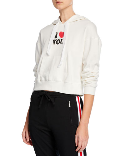 Roxanne I Heart You Cropped Hoodie Sweatshirt
