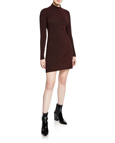 Phoebe High-Neck Metallic Sweater Dress