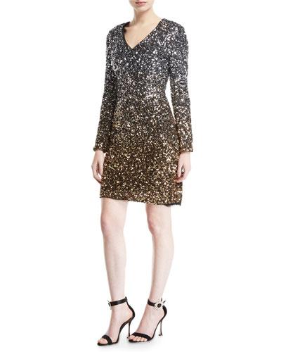 Ombre Sequin Long Sleeve V-Neck Dress
