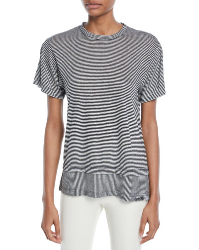 Striped Crewneck Layered Linen-Cotton Tee
