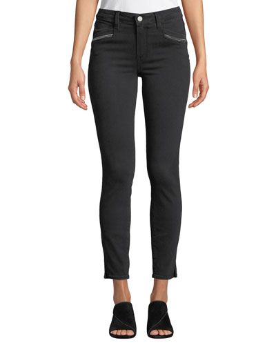 Roxxi High-Rise Ankle Skinny Jeans with Zipper Trim