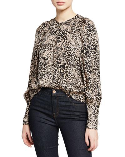 Leopard-Print Jacquard Silk Button-Front Blouse