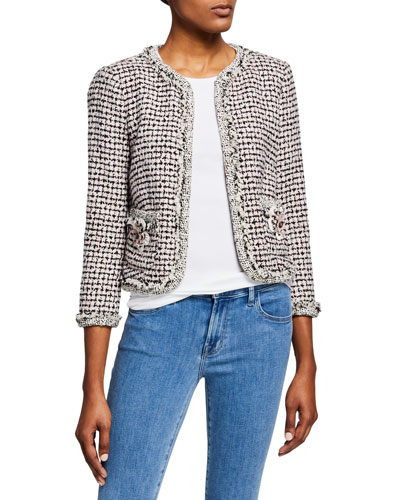 Houndstooth Tweed 3/4-Sleeve Jacket