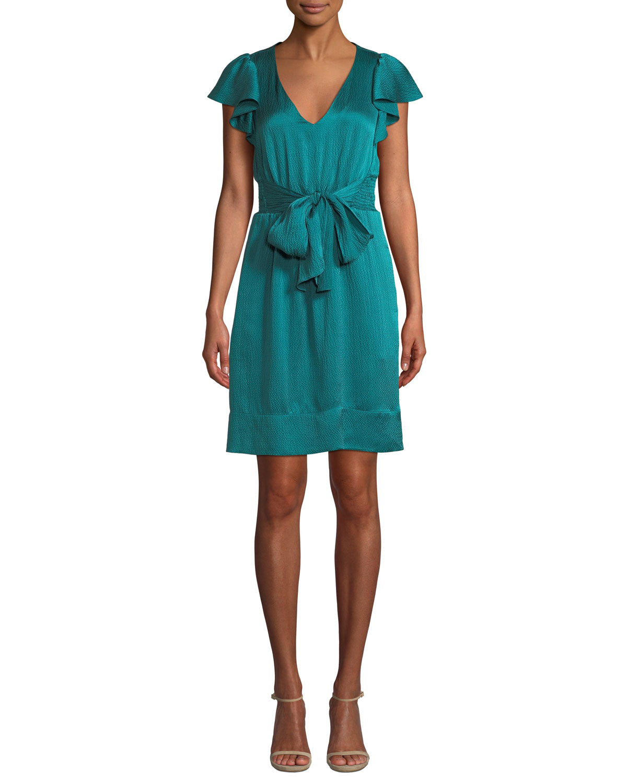 Belted Silk Flutter-Sleeve V-Neck Dress in Viridian