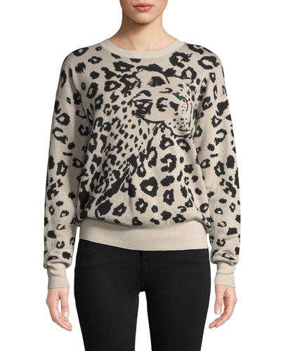 Animal Jacquard Wool Pullover Sweater