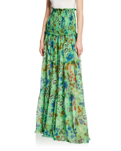8c6e235c163 Quick Look. Alexis · Roshan Floral Smocked High-Rise Maxi Skirt