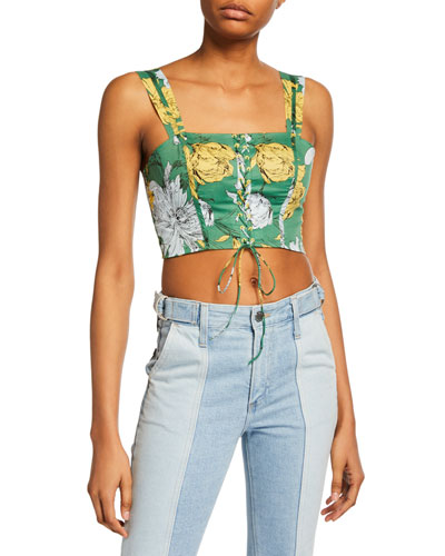 Kiddo Floral-Print Sleeveless Lace-Up Crop Top