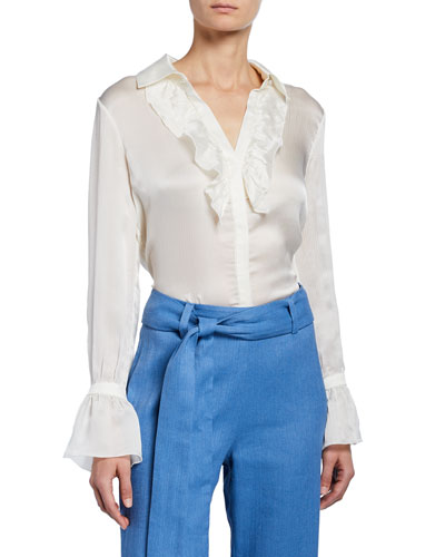 Attis Long-Sleeve Silk Ruffle Top