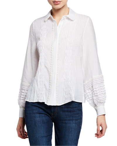 81b737a036d9f Quick Look. Alexis · Greyson Smocked Long-Sleeve Button-Up Top. Available  in White