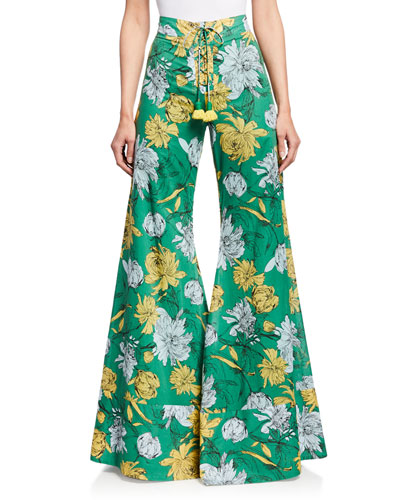 Donovan Floral-Print High-Rise Wide-Leg Lace-Up Pants