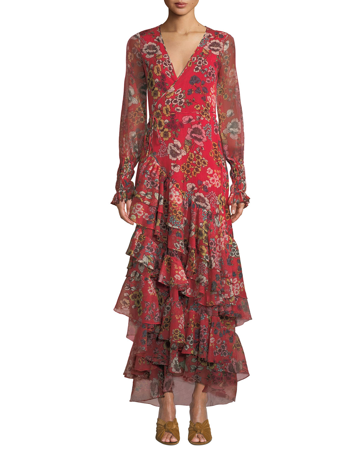 Solace Tiered Floral Wrap Flounce Dress in Red Pattern
