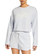 Nike NSW Long-Sleeve Cropped Logo Sweatshirt, Blue
