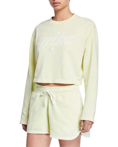 NSW Long-Sleeve Cropped Logo Sweatshirt, Green