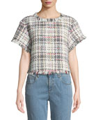 Cupcakes and Cashmere Emelda Cropped Tweed Short-Sleeve Top