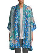 Johnny Was Plus Size Coi Mixed-Print Silk Kimono