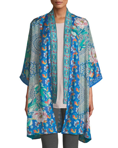 3cdffe66574 Quick Look. Johnny Was · Plus Size Coi Mixed-Print Silk Kimono Jacket