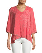 Johnny Was Aria Rauon V-Neck Georgette Blouse w/