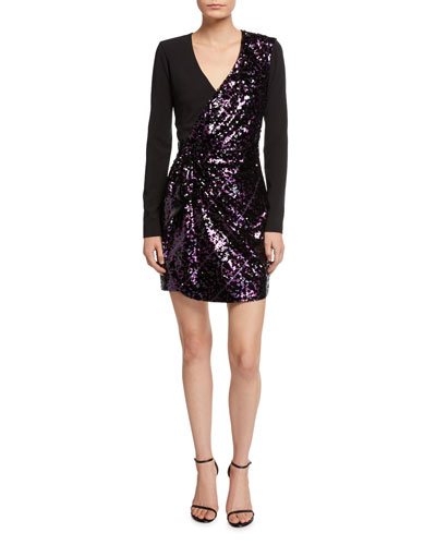 Becca Surplice Long-Sleeve Sequin Combo Mini Dress
