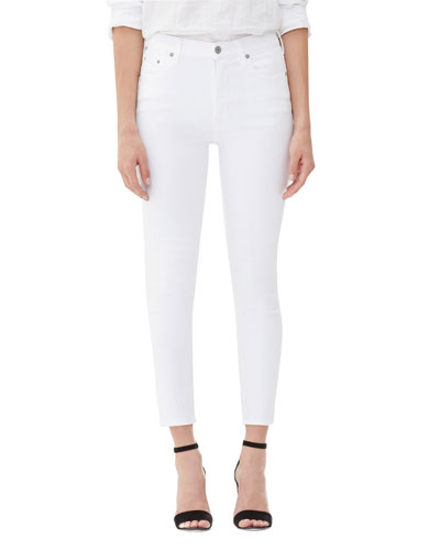 Rocket Crop High-Rise Skinny Jeans, White Sculpt