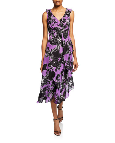 Loreena Floral-Print V-Neck Sleeveless Ruffle Dress