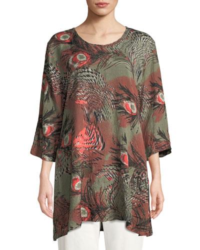 Gwen 3/4-Sleeve Peacock-Print Tunic