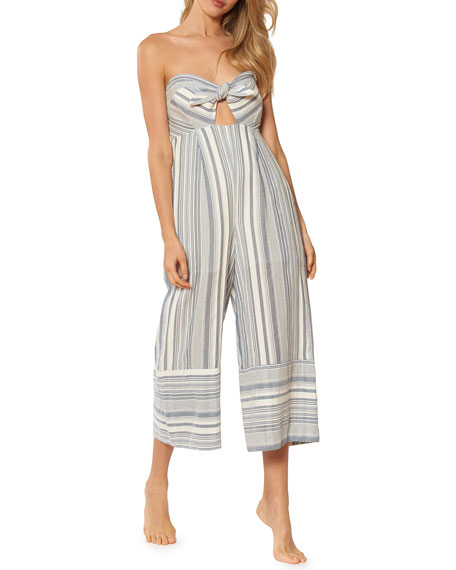 Red Carter Kimberly Sweetheart Wide-Leg Striped Cotton Jumpsuit w/ Adjustable Straps