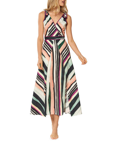 Kinsley Striped Sleeveless A-Line Midi Dress
