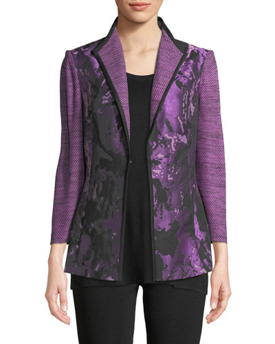 Plus Size Mixed Media 3/4-Sleeve Jacquard Jacket