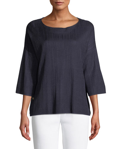 Plus Size 3/4-Sleeve Side-Button Oversized Tunic
