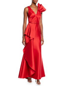 Badgley Mischka Collection V-Neck Sleeveless Asymmetric Flounce