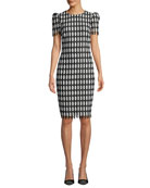 Badgley Mischka Collection Checkered Short-Sleeve Knee-Length