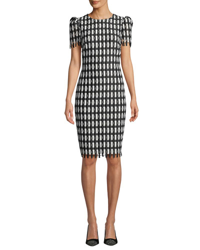 35b1d31aca00 Quick Look. Badgley Mischka Collection · Checkered Short-Sleeve Knee-Length  Sheath Dress