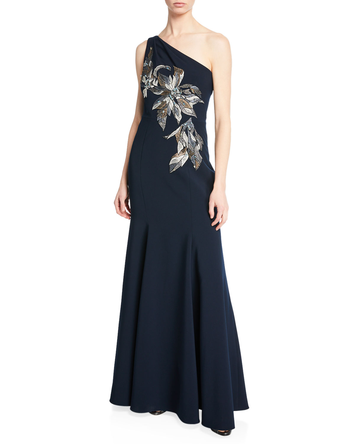 MARCHESA NOTTE One-Shoulder Mermaid Gown W/ Beaded Embroidered Appliques in Navy