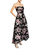 Marchesa Notte Strapless Floral Embroidered High-Low Fil-Coupe