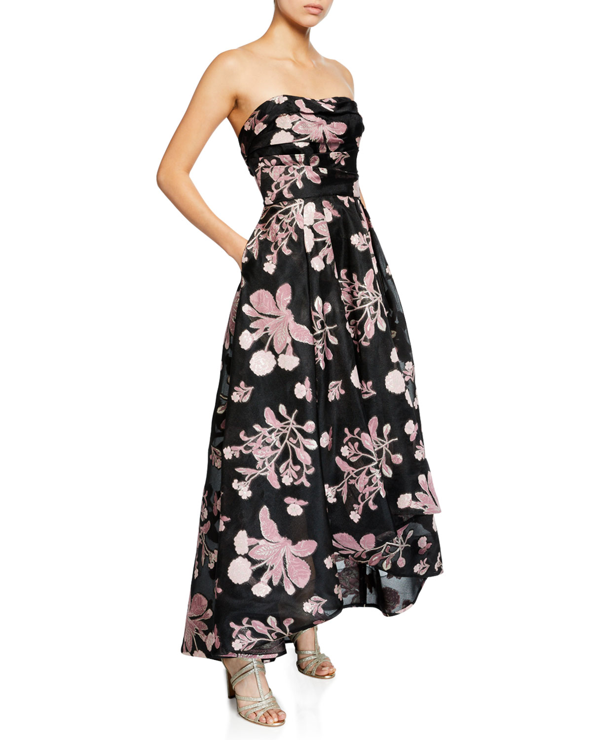 MARCHESA NOTTE Strapless Floral Embroidered High-Low Fil-Coupe Dress in Black