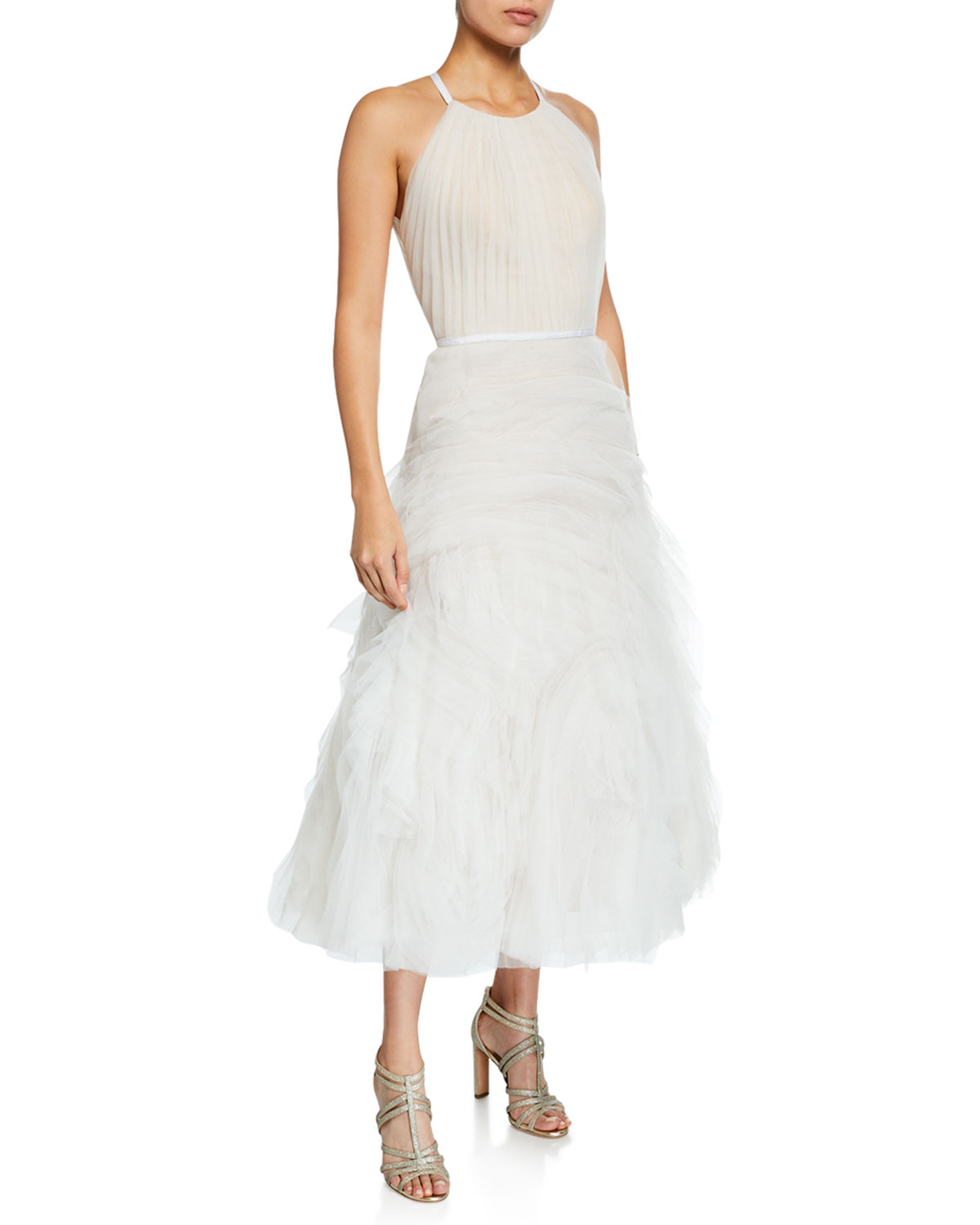 MARCHESA NOTTE Halter-Neck Textured Tulle Draped Bodice Tea-Length Gown in Ivory
