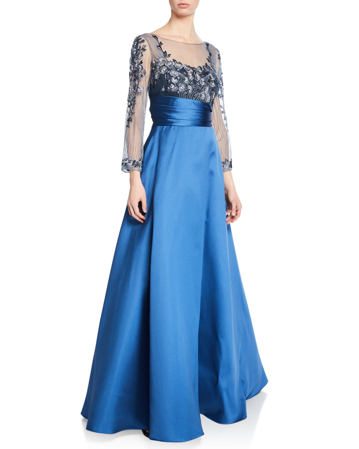 MARCHESA NOTTE Sweetheart Illusion Mikado Ball Gown W/ 3D Floral-Embroidered Bodice in Dark Blue