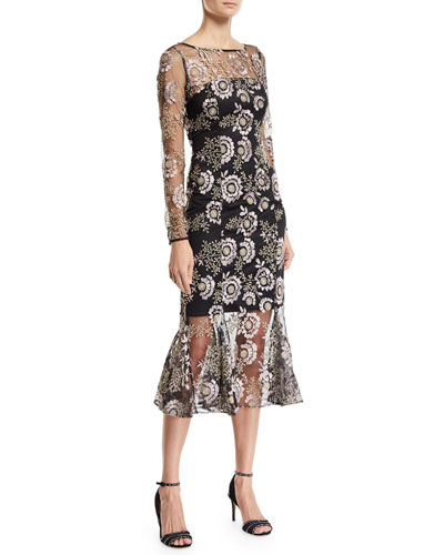 Robbie Floral-Embroidered Long-Sleeve Dress