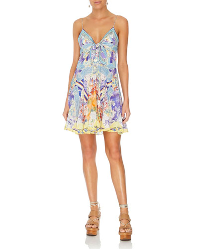 9feb513fabb Quick Look. Camilla · Printed Tie-Front Silk Pleated Short Dress