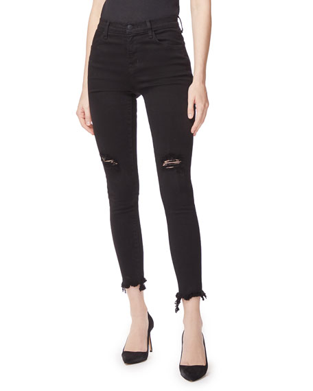 J Brand Alana High-Rise Distressed Frayed Skinny Jeans